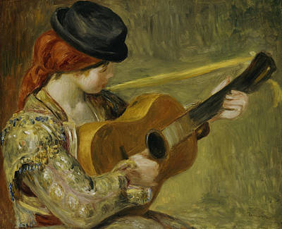 Woman With Black Hair Painting - Girl With A Guitar by Pierre Auguste Renoir