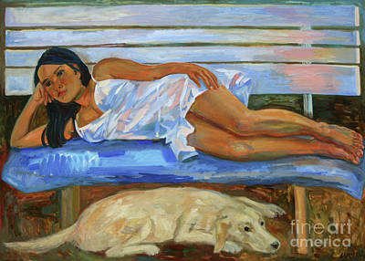 Painting - Girl With A Labrador by Katia Weyher