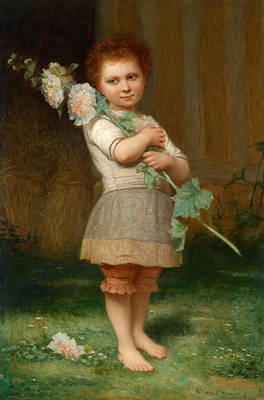 Charles Landelle Painting - Girl With A Mallow Branch by Charles Zacharie Landelle