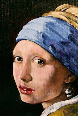 Girl With A Pearl Earring A Reproduction Of Vermeer Art Print by Joan Garcia