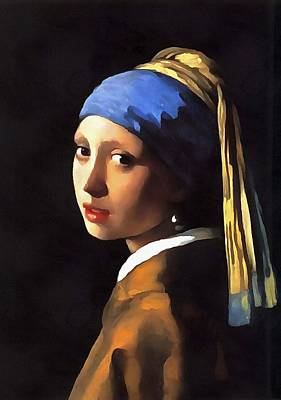 Painting - Girl With A Pearl Earring After Johannes Vermeer by Tracey Harrington-Simpson