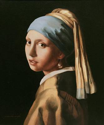 Girl With A Pearl Earring - After Vermeer Art Print