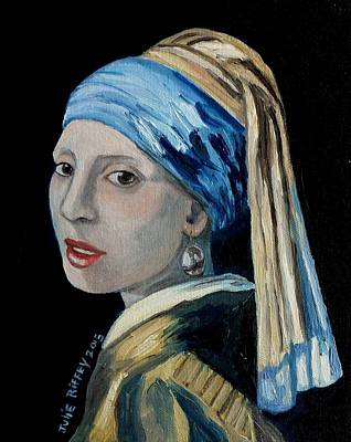 Girl With The Pearl Earring -inspired By Johannes Vermeer Art Print by Julie Brugh Riffey