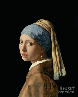By Women Painting - Girl With A Pearl Earring by Jan Vermeer