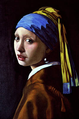 Girl With A Pearl Earring Painting - Girl With A Pearl Earring by Rok Lekaj