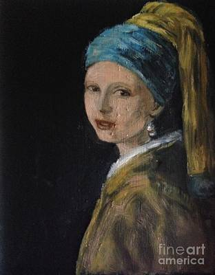 Girl With A Pearl Earring Painting - Girl With A Pearl Earring Variation  by Lavender Liu