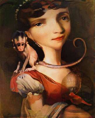 Girl With A Pet Monkey Art Print