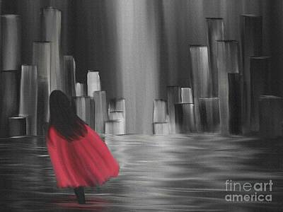 Digital Art - Girl With A Red Cape by Alisha at AlishaDawnCreations
