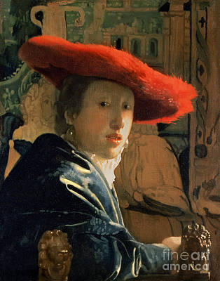 With Painting - Girl With A Red Hat by Jan Vermeer