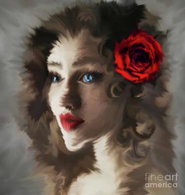 Face Painting - Girl With A Red Rose.. by Prar Kulasekara