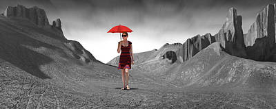 Girl With A Red Umbrella 3 Art Print by Mike McGlothlen