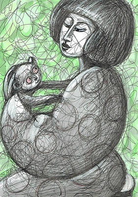 Painting - Girl With A Tarsier by June Walker