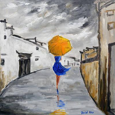 Girl With A Yellow Umbrella Art Print