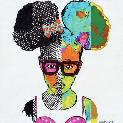 Mixed Media - Girl With Afro Puffs by Shonte Young