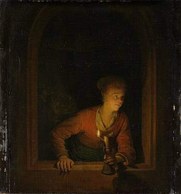 Girl With An Oil Lamp At A Window Art Print by Gerard Dou
