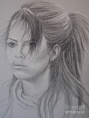 Drawing - Girl With Attitude by Lynn Quinn