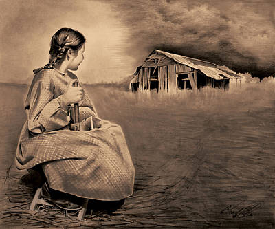 Girl With Axe Sepia Art Print by Chad Glass