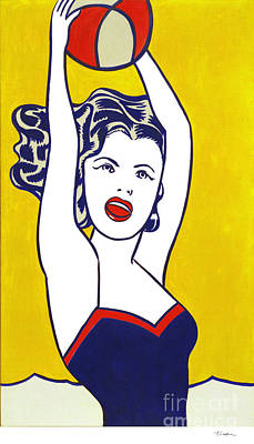 Painting - Girl With Ball by Doc Braham - In Tribute to Roy Lichtenstein
