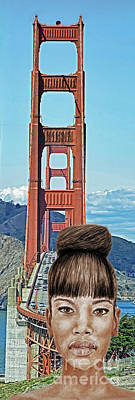 Girl With Bangs And Her Hair In A Bun By The Golden Gate Bridge  Art Print by Jim Fitzpatrick