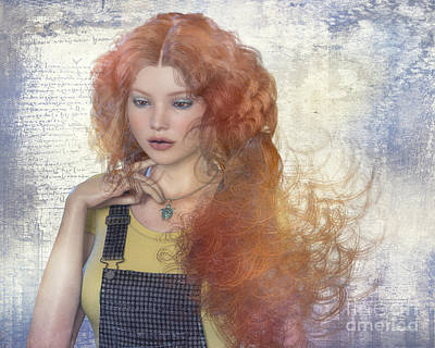 Digital Art - Girl With Beautiful Hair by Jutta Maria Pusl