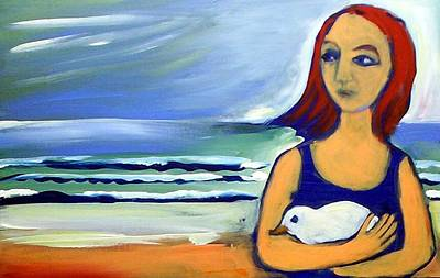 Painting - Girl With Bird by Winsome Gunning