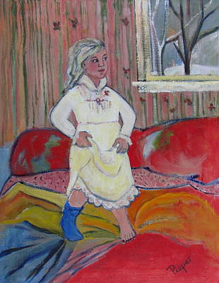 Girl With Blue Sock And Red Toe Nails Art Print by Betty Pieper