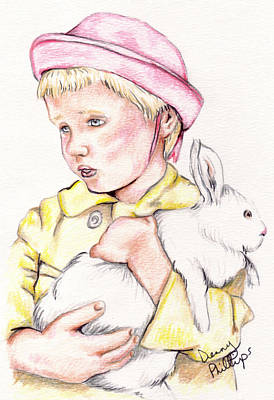 Girl With Bunny Art Print by Denny Phillips