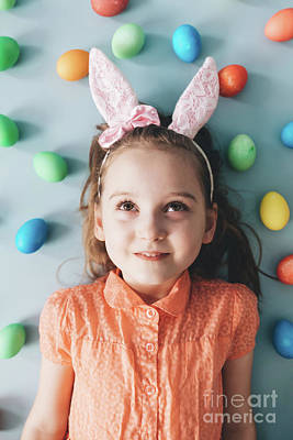 Photograph - Girl With Bunny Ears Surrounded By Colorful Eggs. by Michal Bednarek