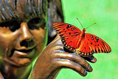 Photograph - Girl With Butterfly by Ludwig Keck