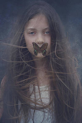 Photograph - Girl With Butterfly Over Lips by Stephanie Frey