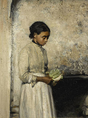 Painting - Girl With Cabbage by Thomas Hovenden