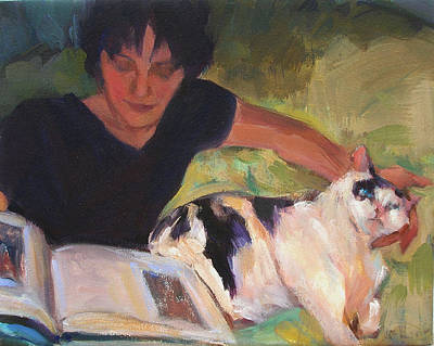 Girl With Cat Art Print by Merle Keller
