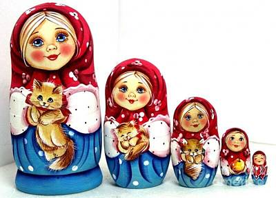 Matryoshka Sculpture - Girl With Cat by Viktoriya Sirris