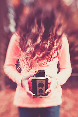 Girl With Classic Camera Art Print