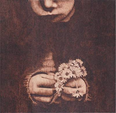 Pyrography On Wood Pyrography - Girl With Daisies by Marsha Wilson