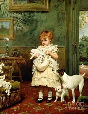 Oil Painting - Girl With Dogs by Charles Burton Barber