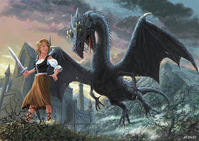 M P Davey Digital Art - Girl With Dragon Fantasy by Martin Davey