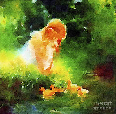 Photograph - Girl With Ducklings by Rich Governali