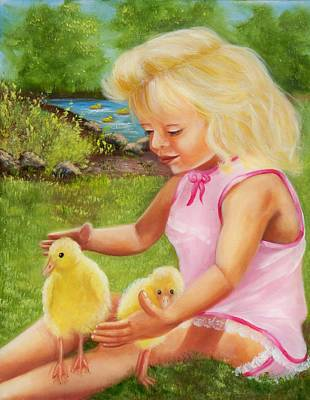 Girl With Ducks Art Print by Joni McPherson