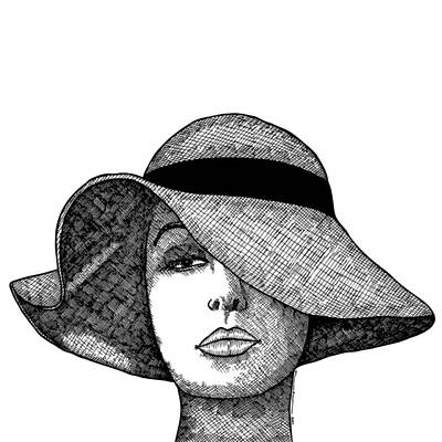 Illustrate Drawing - Girl With Fancy Hat by Karl Addison