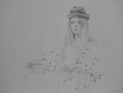 Drawing - Girl With Feather Boa by Jackie Hoats Shields