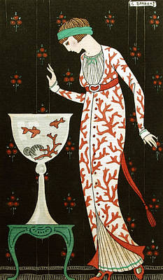 Goldfish Drawing - Girl With Fish Bowl by Georges Barbier