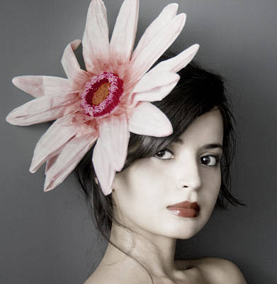 Grey Photograph - Girl With Flower by Emma Cleary