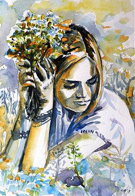 Painting - Girl With Flowers by Kovacs Anna Brigitta