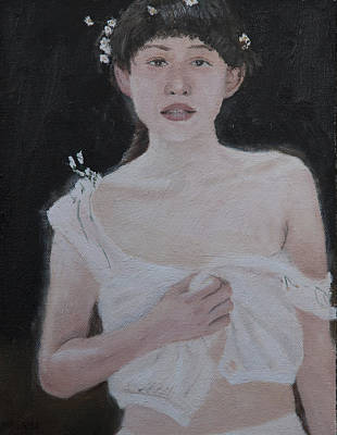 Painting - Girl With Flowers by Masami Iida