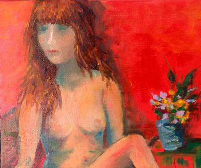 Painting - Girl With Flowers by Sally Fraser