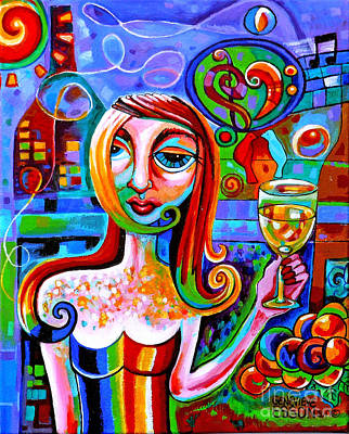 Wineglass Painting - Girl With Glass Of Chardonnay by Genevieve Esson