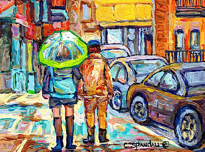 Painting - Girl With Green Umbrella Rainy Day Rue Wellington Walking Verdun Streets Canadian Art C Spandau  by Carole Spandau