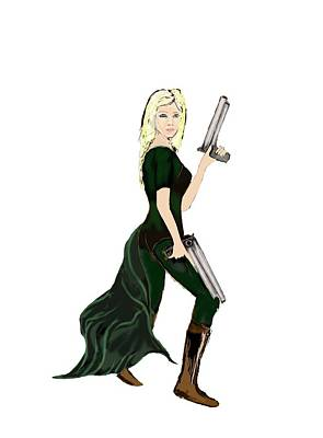 Digital Art - Girl With Guns by Tom Conway