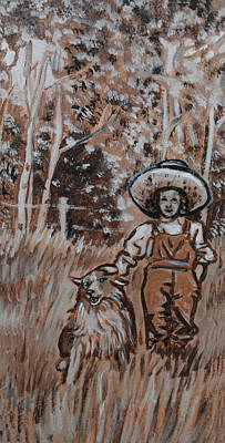Painting - Girl With Hat And Dog Historical Vignette by Dawn Senior-Trask